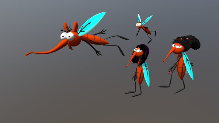 Mosquito Family 3D Model