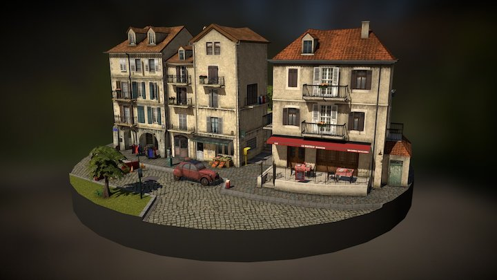 Cityscene inspired by Annecy 3D Model