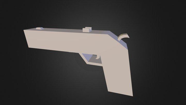 trä pistol. 100 poly 3D Model
