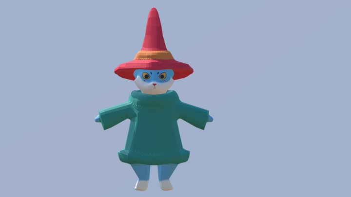 Sylvester - The Magic Mushroom Cat 3D Model
