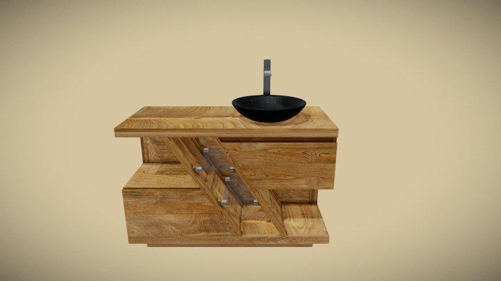 Meuble teck salle de bain DIAGONAL simple vasque