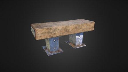 Rustic Metal Wood Bench - Texture set A 3D Model