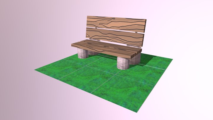 Bench on Grass 3D Model