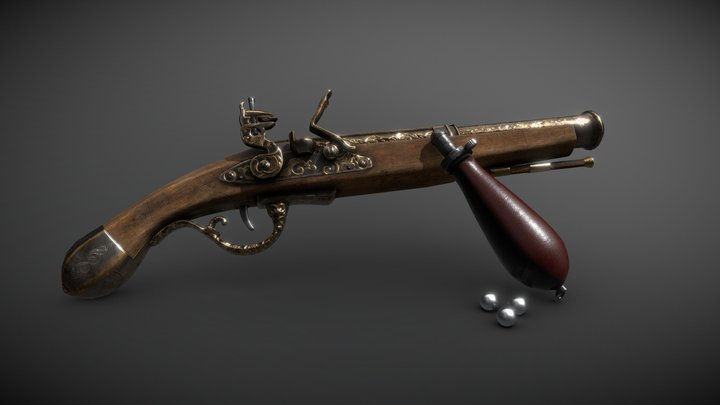 Flintlock Duelling Pistol (With Bayonet) 3D Model