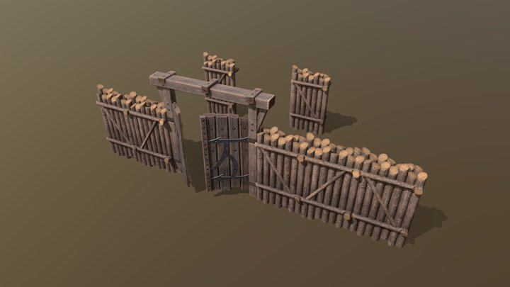 Мodular palisade and gate 3D Model