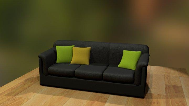 Leather Black Sofa 3D Model