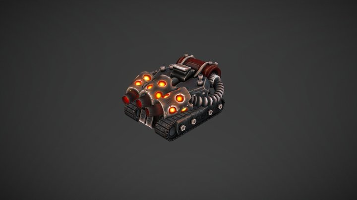 Flame Tank for RTS Game 3D Model