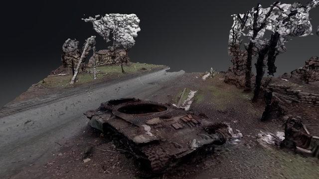 Destroyed Tank 3D Model