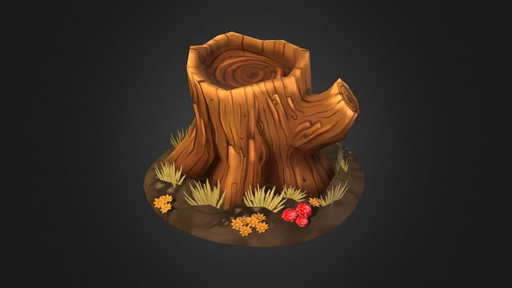 Tree Stump - Hand Painted 3D Model