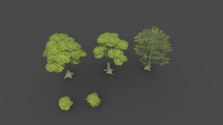 Trees and bushes 3D Model