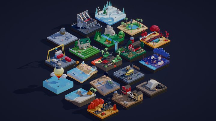 Low Poly Worlds 3D Model
