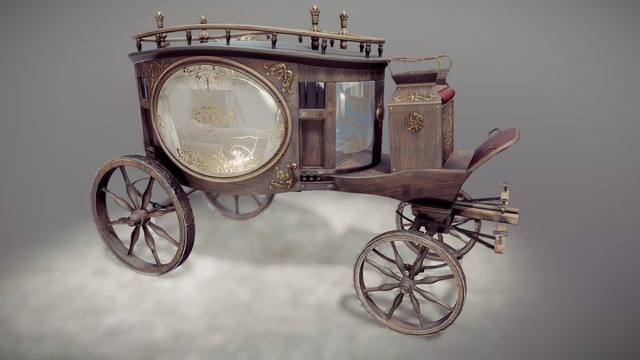 Funeral horse carriage 3D Model