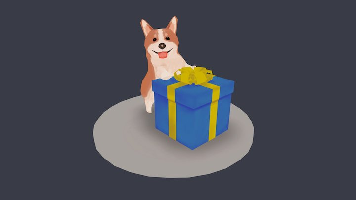 Birthday Corgi 3D Model