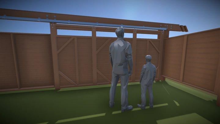 Barn Door Fence Design C 3D Model