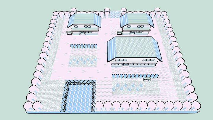 Pallet Town - Pokemon Gameboy 3D Model