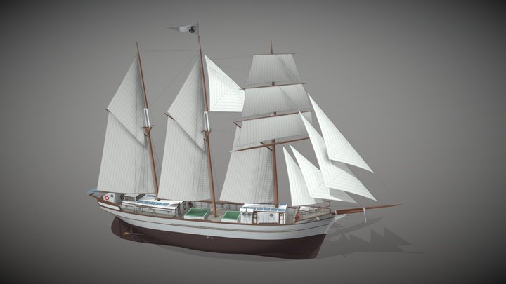 Ceiba - Sailing Cargo Schooner 3D Model