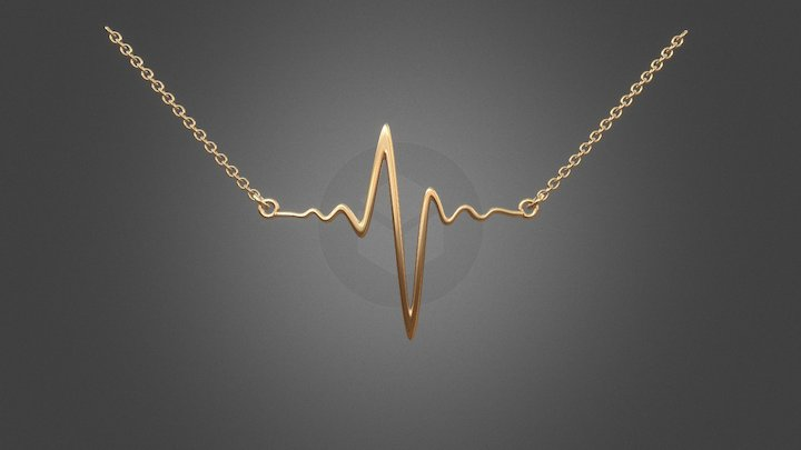 577 - Necklace: ECG - A Line Of Life 3D Model