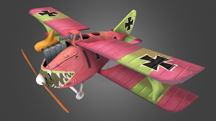 Stylized WW1 Airplane Roland C.II 3D Model