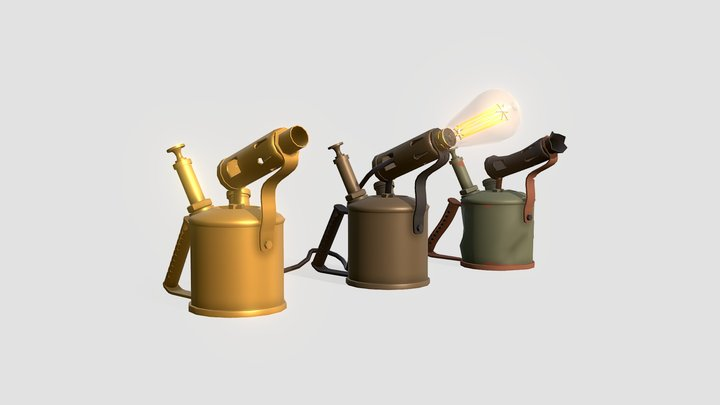 3 Drafts versions of blow torch 3D Model