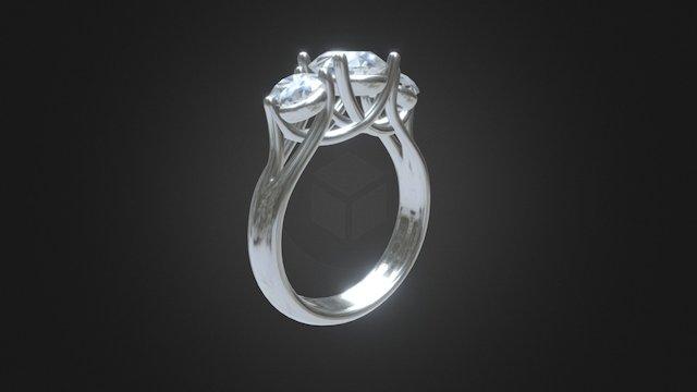trible diamond ring 3D Model