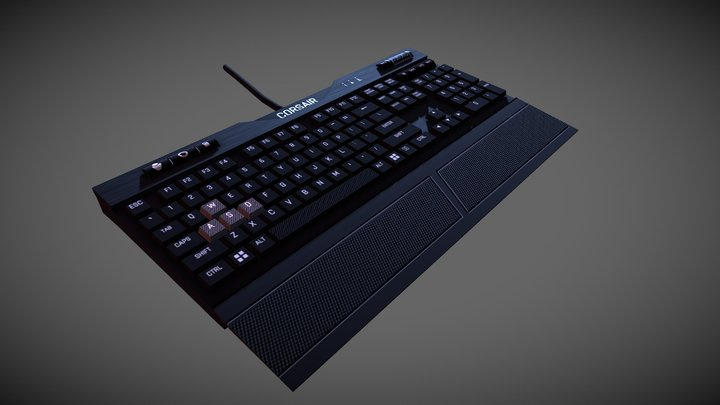 Low poly Corsair K70 MK.2 Low Profile 3D Model