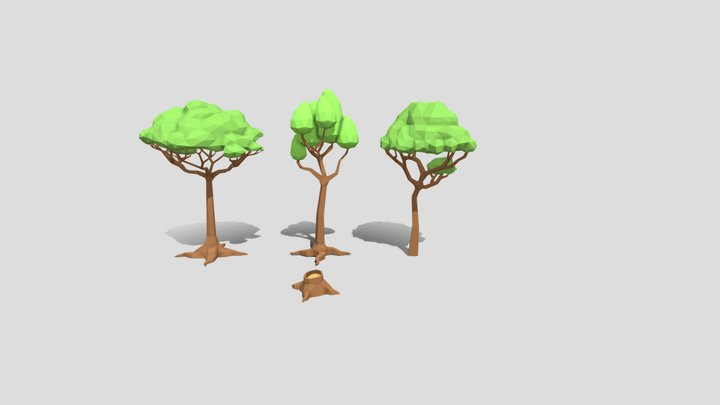 Low Poly Trees Tutorial 3D Model