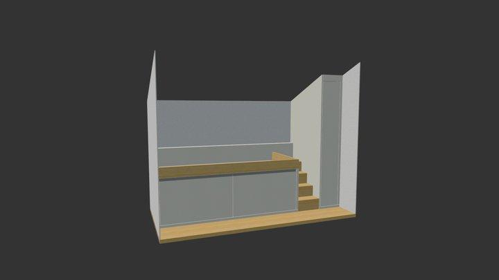 Hochbett mit Schrank, Eiche 3D Model
