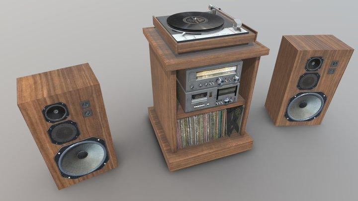 Vintage Stereo Hi-Fi Stack w/ Speakers 3D Model