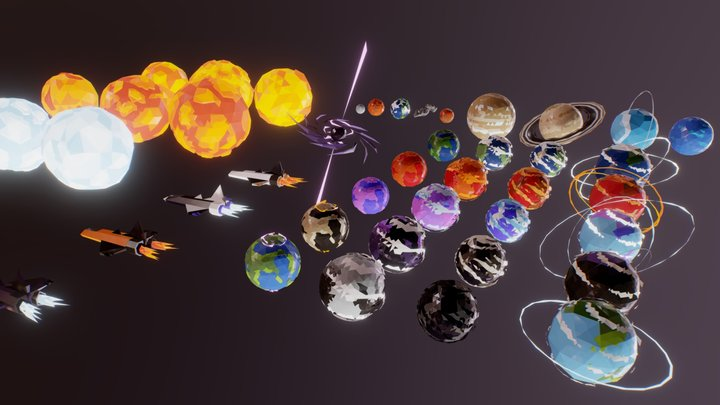 Lowpoly Space Pack 3D Model