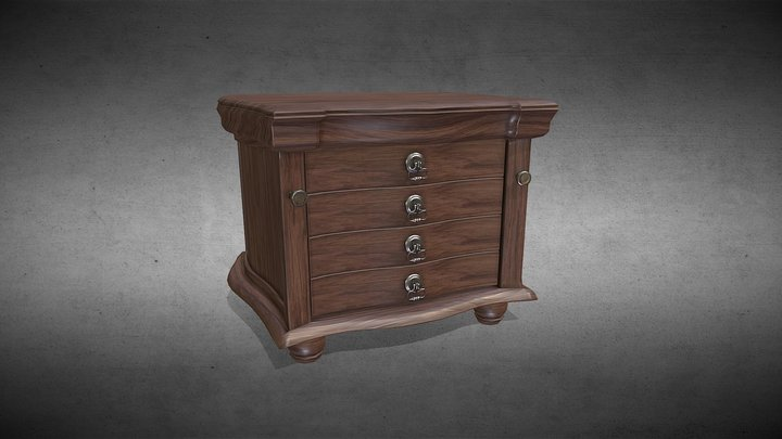 Dresser Drawer (Wood Walnut) 3D Model