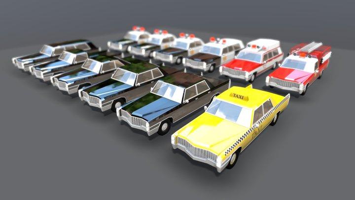 Lowpoly Vintage Car Pack 1960s 3D Model