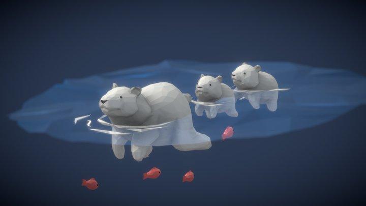 POLAR BEAR FAMILY 3D Model
