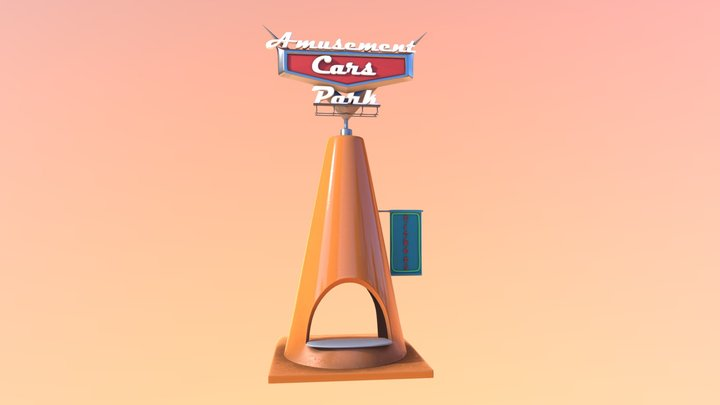 Cone Ticket Office/Cars 3D Model