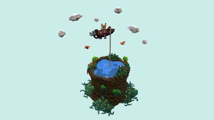 Robot fishing in the pond 3D Model