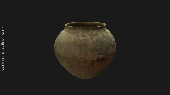 Egg-shaped pot with small opening & flaring rim 3D Model