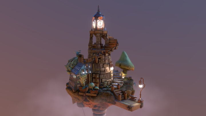 Floating Lighthouse 3D Model