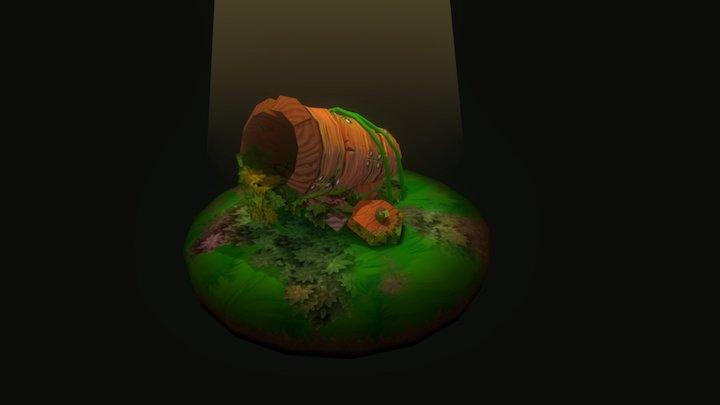 Stylized Cannon Scene 3D Model
