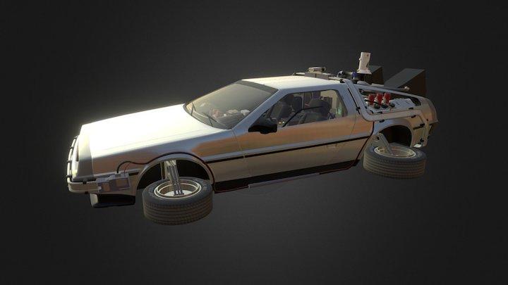 A Flying Delorean 3D Model