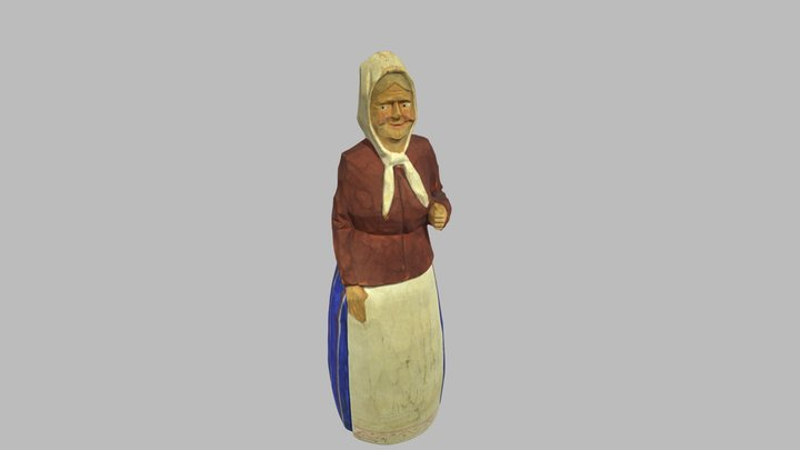 Hand painted old Woman wooden sculpture 3D Model