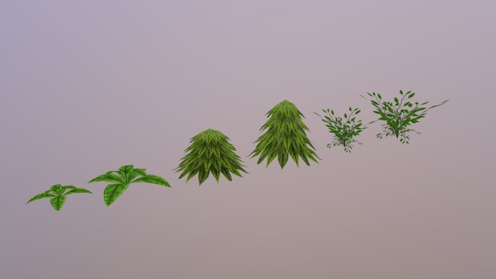 Hand Painted Plants 3D Model