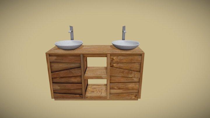 Meuble teck salle de bain