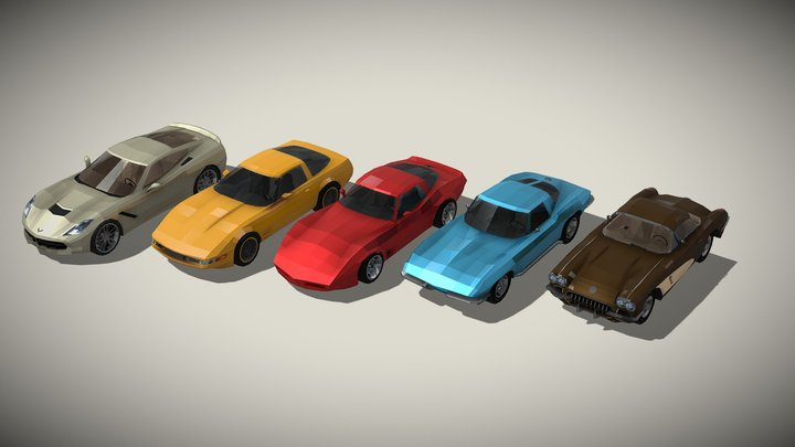 Chevrolet Corvette generations - lowpoly set 3D Model