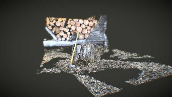 Idaho Red River Chopping Block and Axe 3D Model