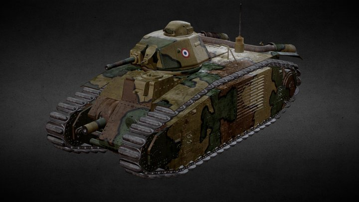 Char B1 Bis Camouflage 3D Model