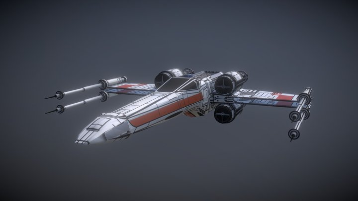 Textured X-wing (Low Poly) 3D Model