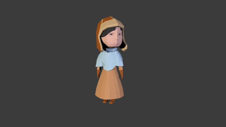 Low Poly Girl Game Character 3D Model
