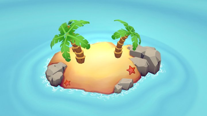 Tropical desert island 3D Model