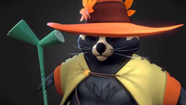 Raccoon dog Sorcerer 3D Model