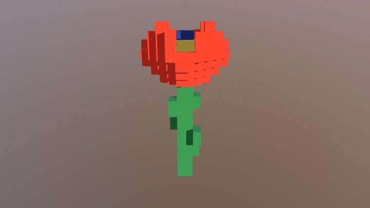 Flor Rara Naranja 3D Model