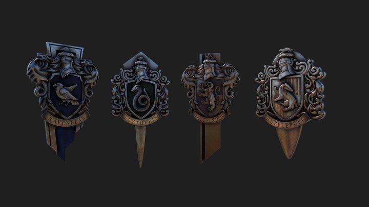 Harry Potter Badges 3D Model